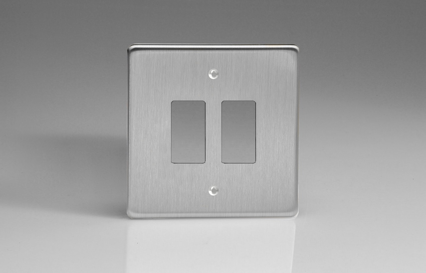 XDSPG2+ Varilight 2 Gang Brushed Steel (Dimension Range) Faceplate including 2 Gang Power Grid Frame