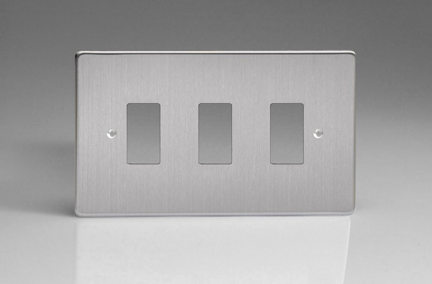 XDSPG3+ Varilight 3 Gang Brushed Steel (Dimension Range) Faceplate including 3 Gang Power Grid Frame