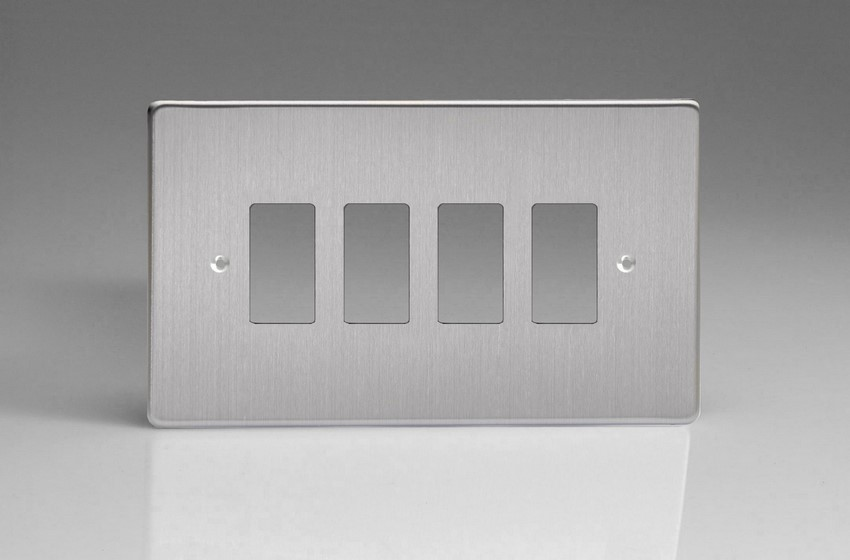 XDSPG4+ Varilight 4 Gang Brushed Steel (Dimension Range) Faceplate including 4 Gang Power Grid Frame