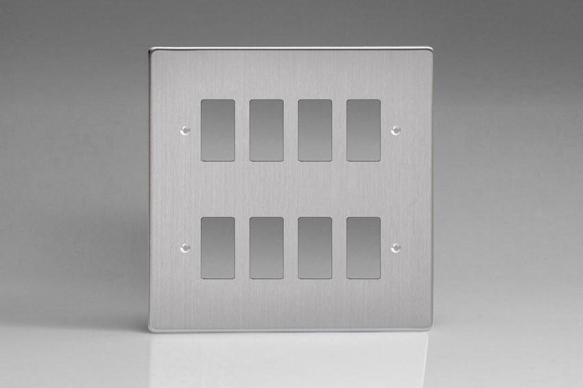 XDSPG8+ Varilight 8 Gang Brushed Steel (Dimension Range) Faceplate including 8 Gang Power Grid Frame