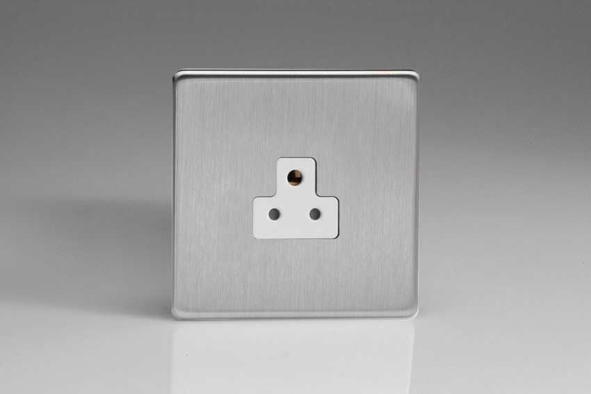 XDSRP2AWS Varilight 1 Gang (Single), 2 Amp Round Pin Socket, Dimension Screwless Brushed Steel