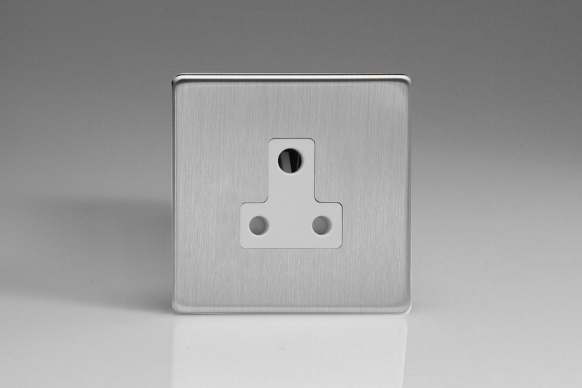 XDSRP5AWS Varilight 1 Gang (Single), 5 Amp Round Pin Socket, Dimension Screwless Brushed Steel
