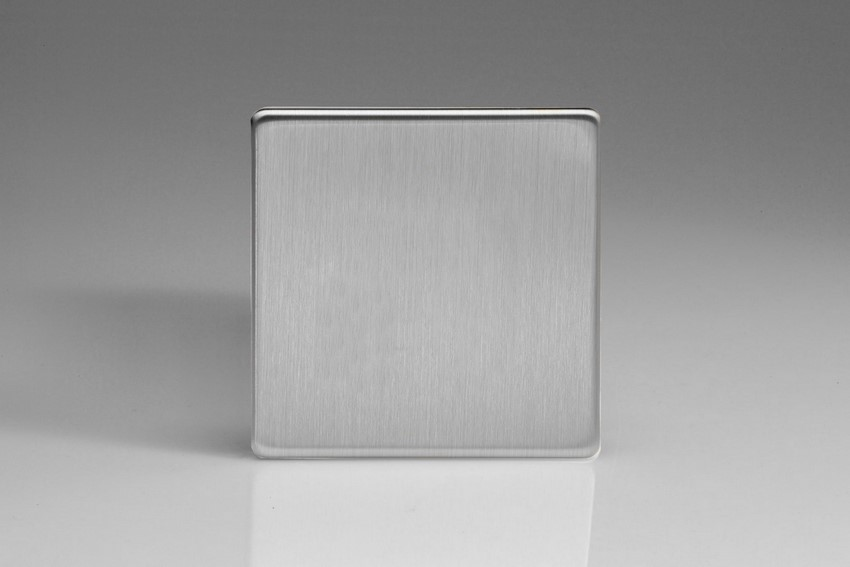 XDSSBS Varilight 1 Gang (Single), Blank Plate, Dimension Screwless Brushed Steel