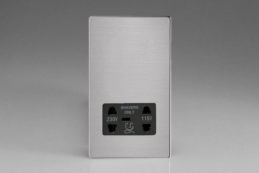 XDSSSBS Varilight Dual Voltage Shaver Socket, Dimension Screwless Brushed Steel