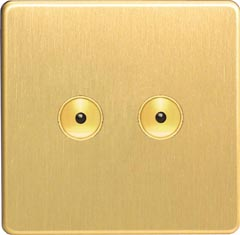 IJDBI102S Varilight V-Pro IR, 2 Gang, 100 Watt IJ Remote Control/Touch Master LED Dimmer, Dimension Screwless Brushed Brass