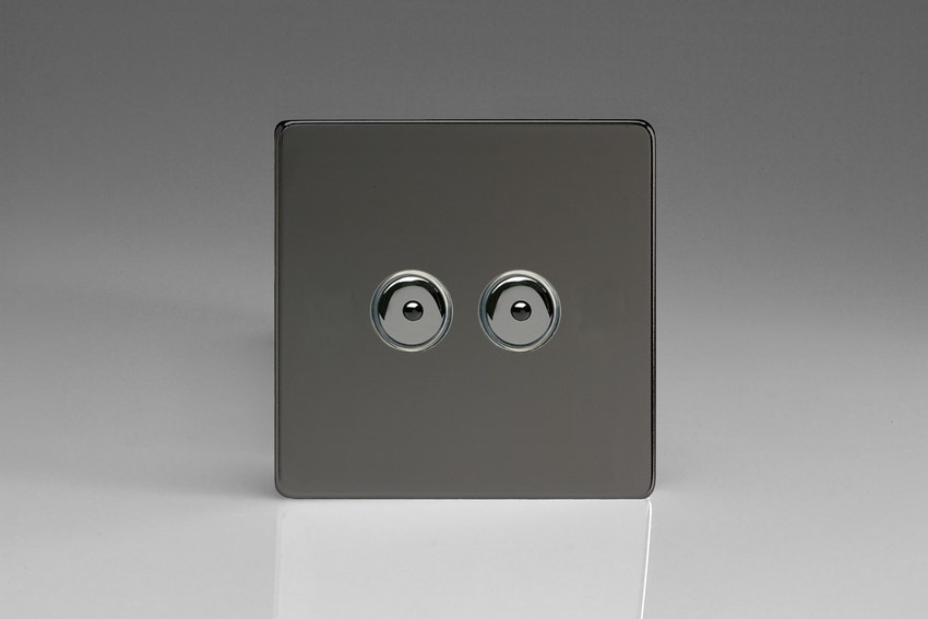 IDII402MS Varilight 2 Gang, 1 or 2 Way or Multi-way 2x400 Watt Touch/Remote Master Dimmer, Dimension Screwless iridium Black