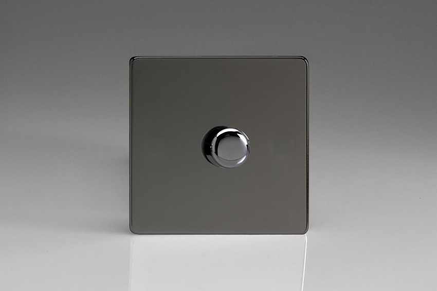 IDIP1001S Varilight V-Plus Series 1 Gang 1 or 2 Way 1000 Watt/VA Dimmer, Dimension Screwless Iridium Black