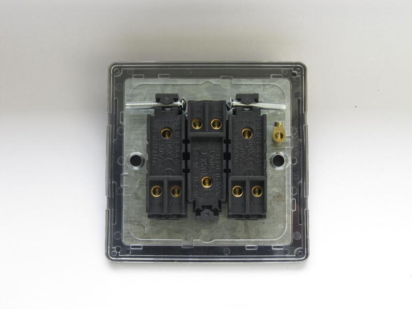 XDI3S Varilight 3 Gang (Triple), 1 or 2 Way 10 Amp Switch, Dimension Screwless Iridium Black