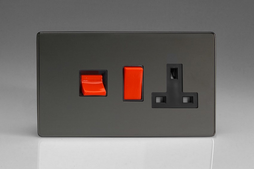 XDI45PBS Varilight 45 Amp Cooker Panel with 13 Amp Switched Socket (Horizontal Double Size), Dimension Screwless Iridium Black
