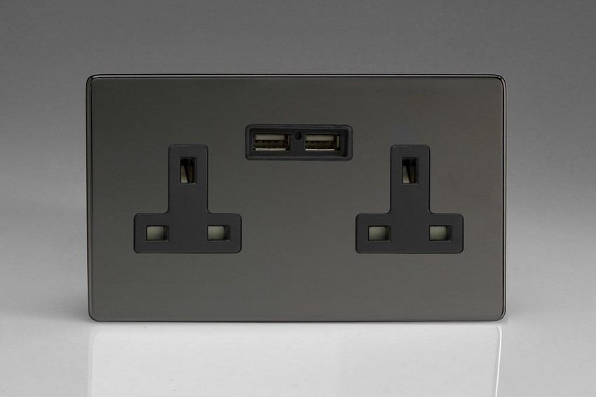XDI5U2BS Varilight 2 Gang, 13 Amp Unswitched Socket with 2 Optimised USB Charging Ports, Black Insert. Dimension Screwless Iridium Black