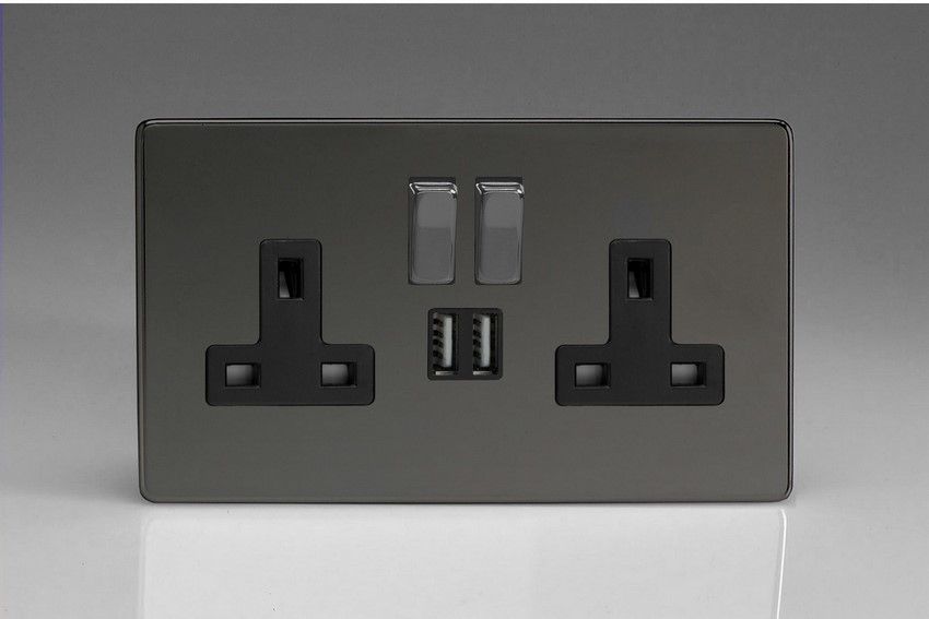 XDI5U2SBS Varilight 2 Gang 13A Single Pole Switched Socket + 2 x 5V DC 2100mA USB Charging Ports, Black Insert & Iridium Black Switches. Dimension Screwless Iridium Black