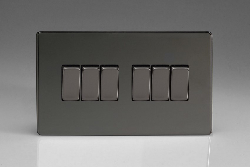 XDI96S Varilight 6 Gang 1or 2 Way 10 Amp Switch, Dimension Screwless iridium Black (Double Plate)
