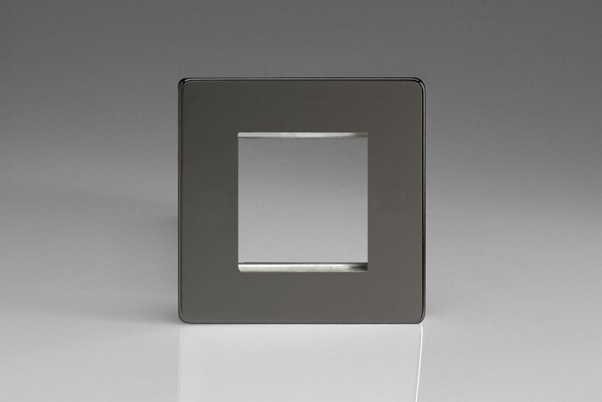 XDIG2S Varilight Single Size Data Grid Face Plate For 2 Data Modules, Dimension Screwless iridium Black