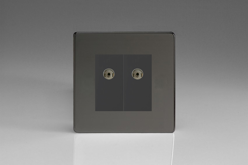 XDIG88BS Varilight 2 Gang (Double), Co-axial TV Socket, Dimension Screwless iridium Black
