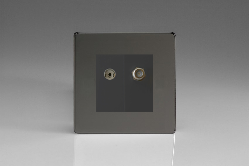 XDIG88SBS Varilight 2 Gang (Double), Co-axial TV and Satellite Socket, Dimension Screwless iridium Black