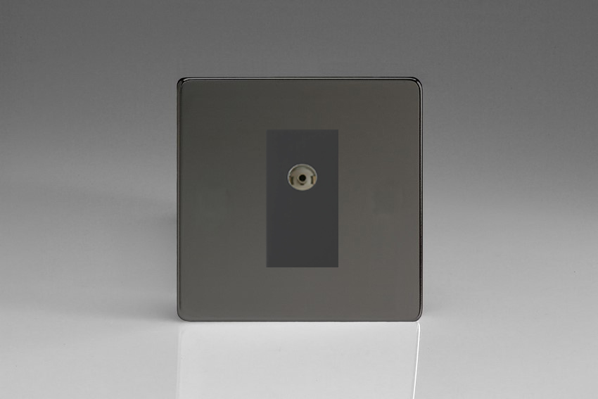 XDIG8ISOBS Varilight 2 Gang (Double), Isolated Co-axial TV Socket, Dimension Screwless iridium Black