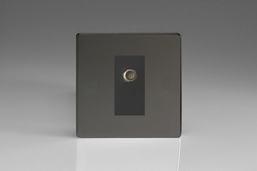 XDIG8SBS Varilight 1 Gang (Single), Satellite TV Socket, Dimension Screwless iridium Black with Black insert