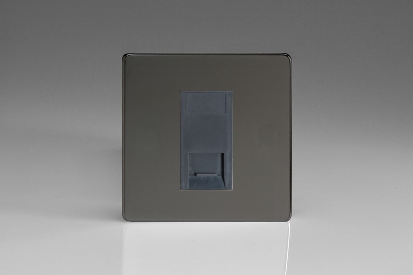 XDIGTMBS Varilight 1 Gang (Single), Telephone Master Socket, Dimension Screwless iridium Black Finish with Black insert