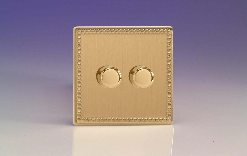 HDY83S.JB Varilight V-Dim 2 Gang, 1 or 2 Way 2x400 Watt Dimmer, Dimension Screwless Jubilee Brushed Brass Effect