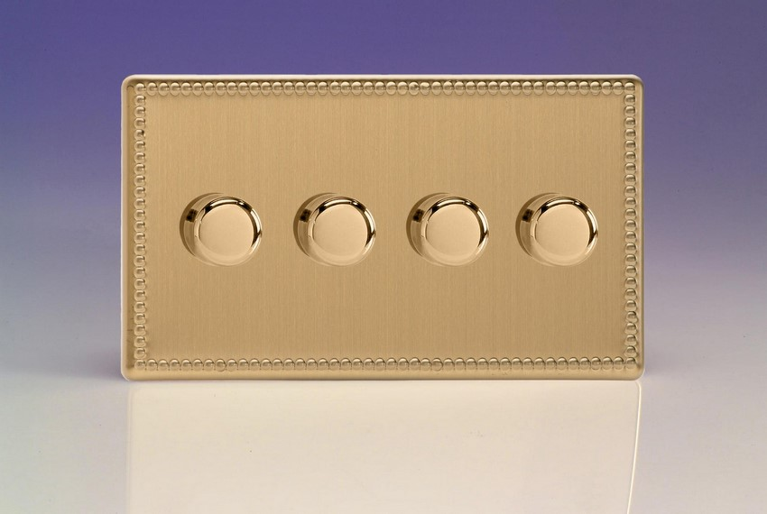 JDYDP254S.JB Varilight V-Pro Series 4 Gang, 1 or 2 Way, Push-On/Off Rotary LED Dimmer 4 x 0-120W (1-10 LEDs) (Twin Plate), Dimension Screwless Jubilee Brushed Brass Effect