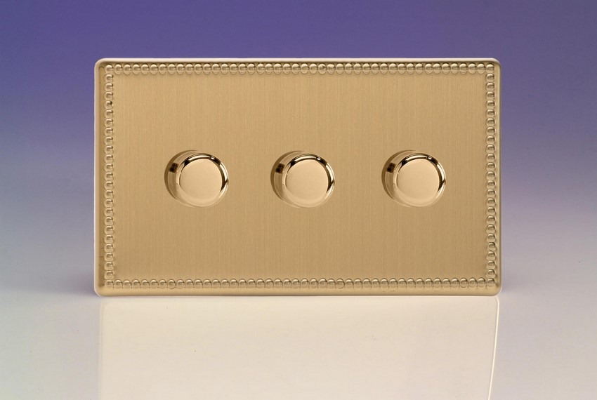 JDYDP303S.JB Varilight V-Pro Series 3 Gang, 1 or 2 Way, Push-On/Off Rotary LED Dimmer 3 x 0-120W (1-10 LEDs) (Twin Plate), Dimension Screwless Jubilee Brushed Brass Effect
