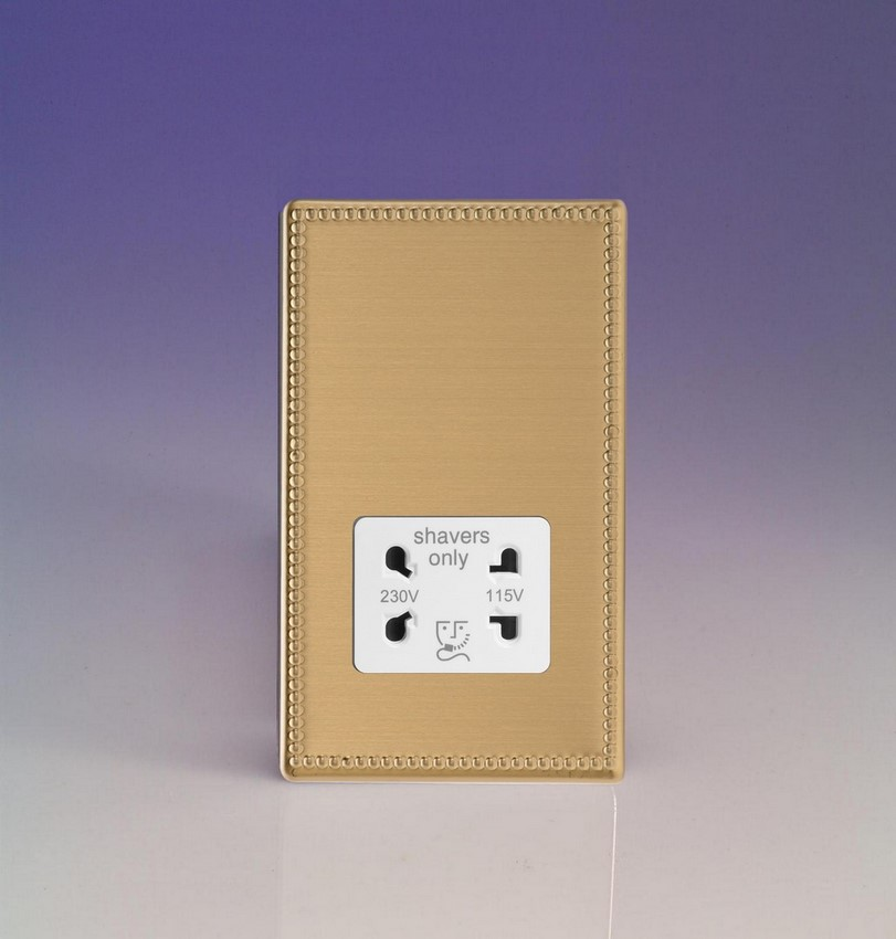 XDYSSWS.JB Varilight Dual Voltage Shaver Socket, Dimension Screwless Jubilee Brushed Brass Effect