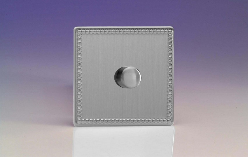 IDYP1001S.JS Varilight V-Plus Series 1 Gang 1 or 2 Way 1000 Watt/VA Dimmer, Dimension Screwless Jubilee Brushed Steel