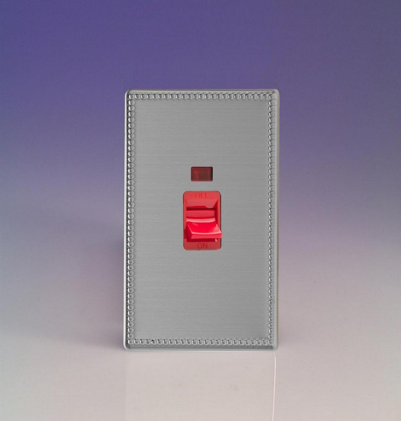 XDY45NS.JS Varilight 45 Amp Cooker Switch with Neon (Vertical Double Size), Dimension Screwless Jubilee Brushed Steel