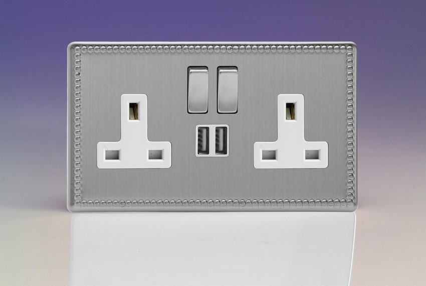 XDY5U2SWS.JS Varilight 2 Gang 13A Single Pole Switched Socket + 2 x 5V DC 2100mA USB Charging Ports, White Insert & Brushed Steel Switches. Dimension Screwless Jubilee Brushed Steel