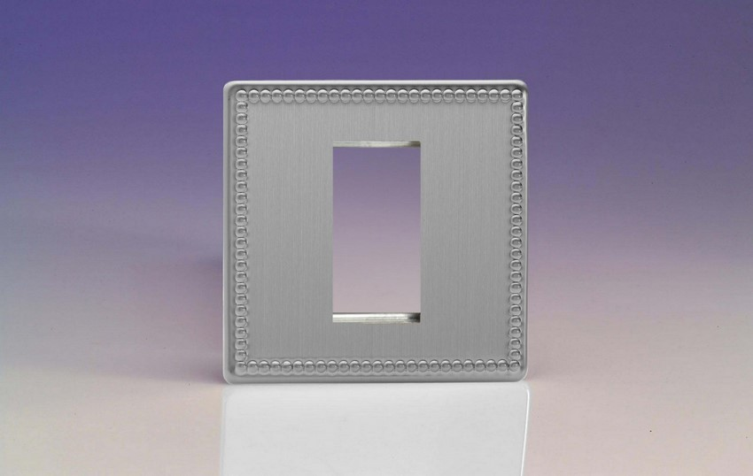 XDYG1S.JS Varilight Single Size Data Grid Face Plate For 1 Data Module Width, Dimension Screwless Jubilee Brushed Steel