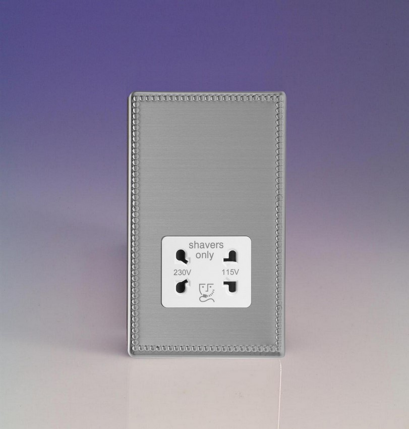 XDYSSWS.JS Varilight Dual Voltage Shaver Socket, Dimension Screwless Jubilee Brushed Steel