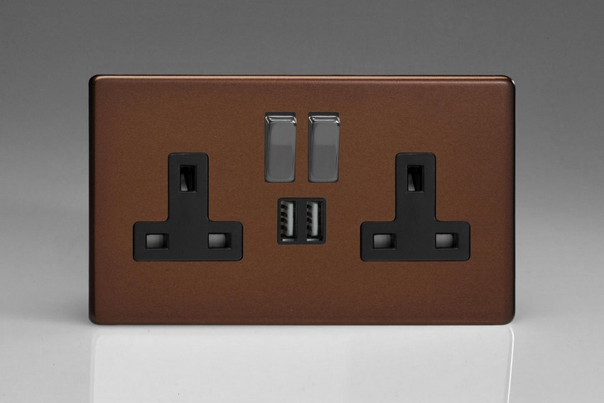 XDM5U2SBS Varilight 2 Gang 13A Single Pole Switched Socket + 2 x 5V DC 2100mA USB Charging Ports, Black Insert & Iridium Black Switches. Dimension Screwless Mocha