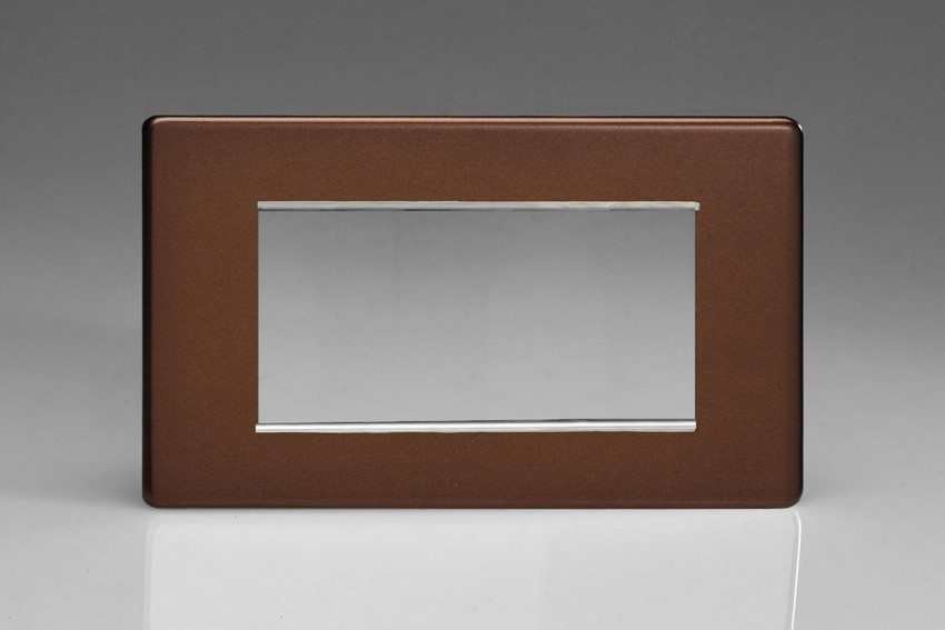 XDMG4S Varilight Double Size Data Grid Face Plate For 3 or 4 Data Modules, Dimension Screwless Mocha (Double Plate)