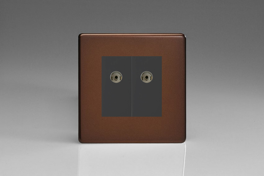 XDMG88BS Varilight 2 Gang (Double), Co-axial TV Socket, Dimension Screwless Mocha