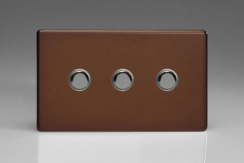 XDMP3S Varilight 3 Gang (Triple) 1 or 2 way 6 Amp Push-on Push-off Switch (impulse), Dimension Screwless Mocha