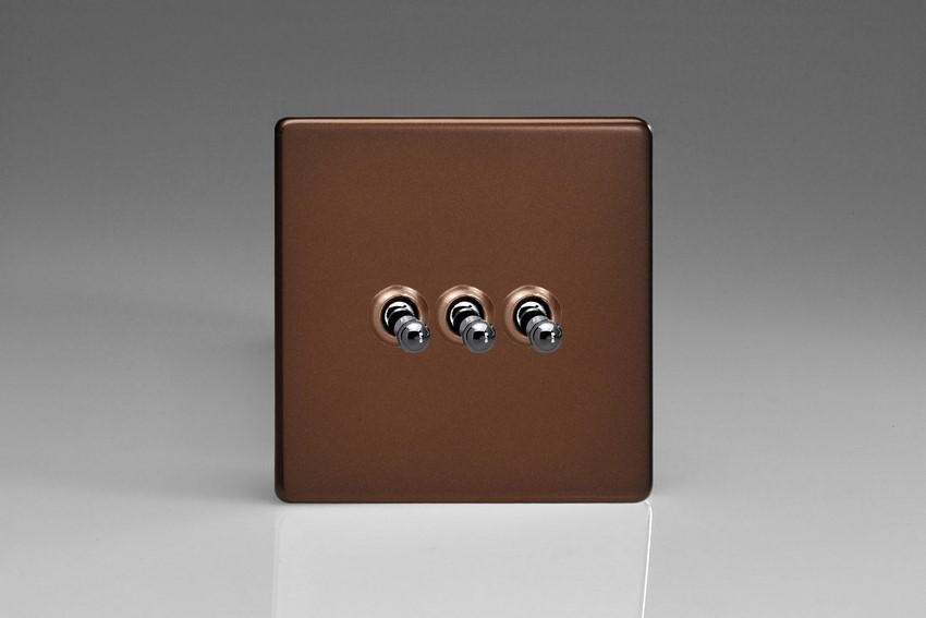 XDMT3S Varilight 3 Gang (Triple), 1 or 2 Way 10 Amp Classic Toggle Switch, Dimension Screwless Mocha