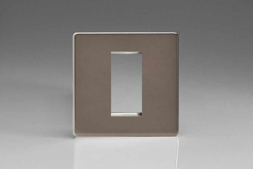 XDRG1S Varilight Single Size Data Grid Face Plate For 1 Data Module Width, Dimension Screwless Pewter