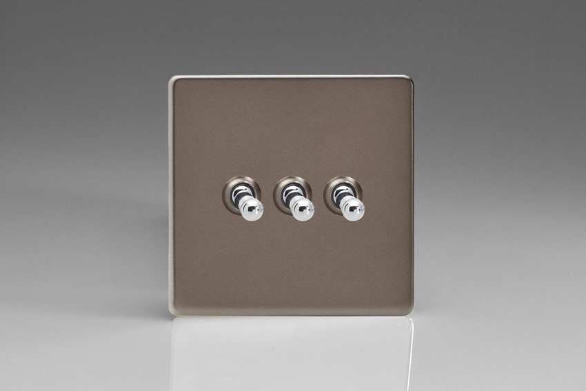 XDRT3S Varilight 3 Gang (Triple), 1 or 2 Way 10 Amp Classic Toggle Switch, Dimension Screwless Pewter