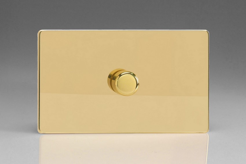 IDVDP1001S Varilight V-Plus Series 1 Gang 1 or 2 Way 1000 Watt/VA Dimmer on a Double Plate, Dimension Screwless Polished Brass Effect