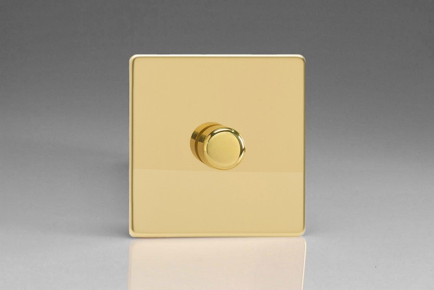 IDVP1001S Varilight V-Plus Series 1 Gang 1 or 2 Way 1000 Watt/VA Dimmer, Dimension Screwless Polished Brass Effect
