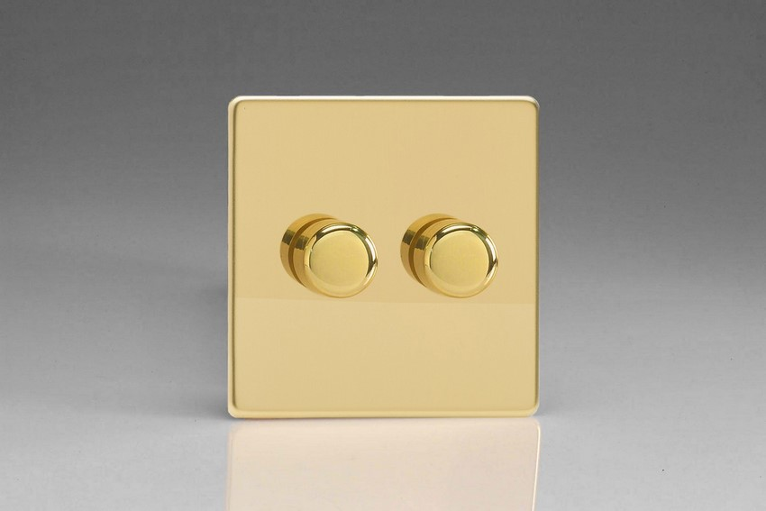 IDVP302S Varilight V-Plus 2 Gang, 1 or 2 Way 2x300 Watt/VA Dimmer, Dimension Screwless Polished Brass Effect