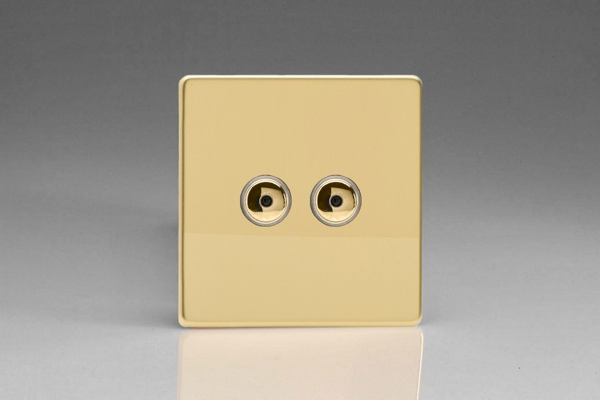 Varilight V-Pro IR Series 2 Gang 0-100 Watts Master Trailing Edge LED Dimmer Screwless Polished Brass