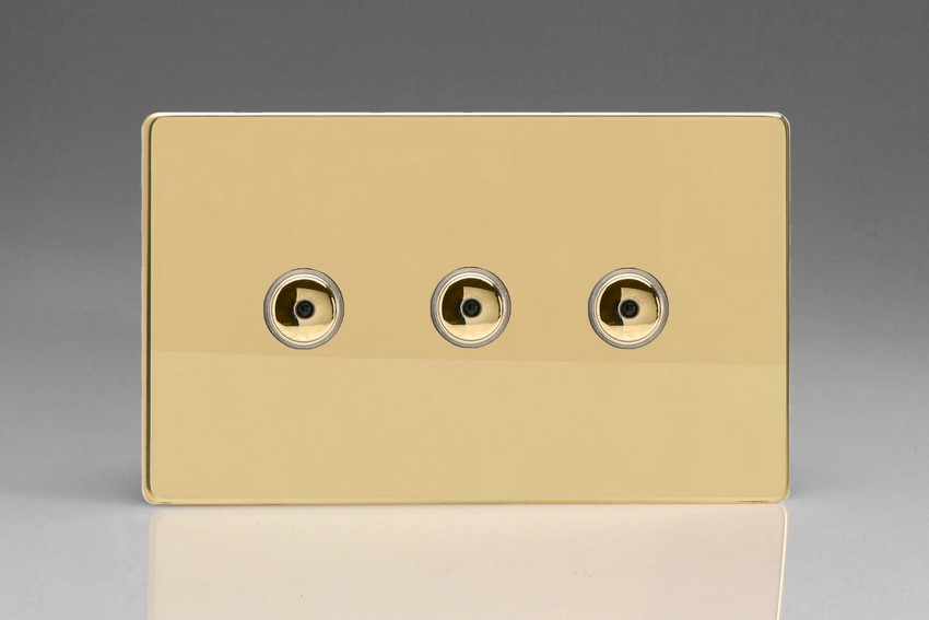 Varilight V-Pro IR Series 3 Gang 0-100 Watts Master Trailing Edge LED Dimmer Screwless Polished Brass