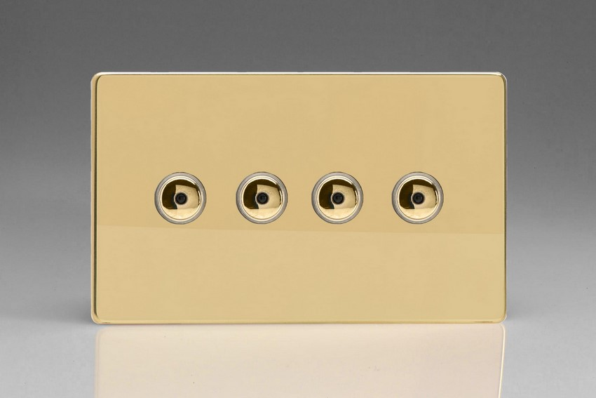 Varilight V-Pro IR Series 4 Gang 0-100 Watts Master Trailing Edge LED Dimmer Screwless Polished Brass