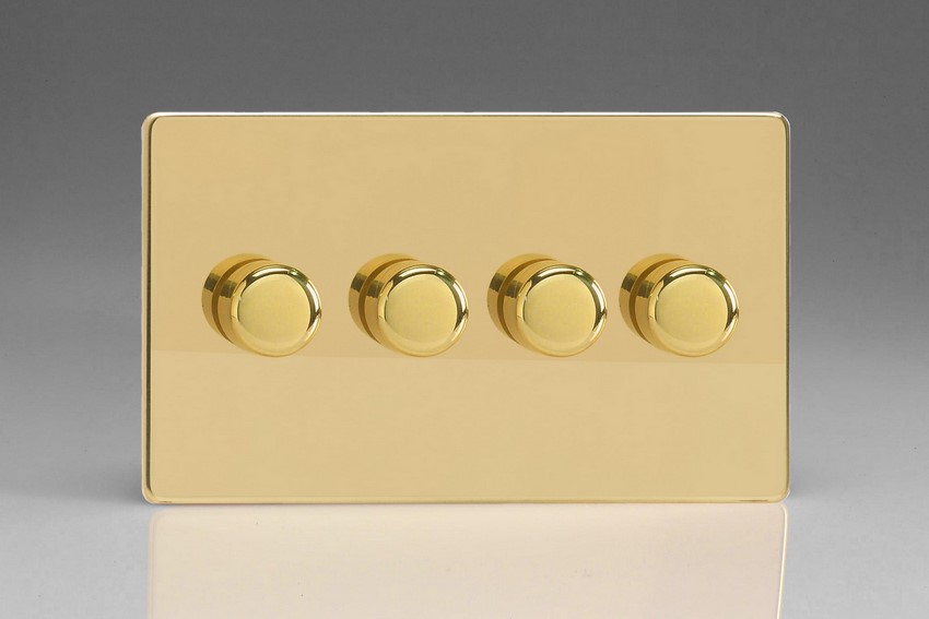 Varilight JDVDP254S, V-Pro Series 4 Gang, 1 or 2 Way, Push-On/Off Rotary LED Dimmer 4 x 0-120W (1-10 LEDs) (Twin Plate), Dimension Screwless Polished Brass Effect