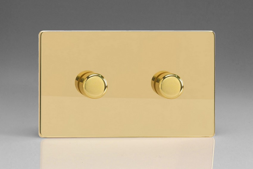 Varilight JDVDP402S, V-Pro Series 2 Gang, 1 or 2 Way, 2x400 Watt (Trailing Edge) Dimmer, Dimension Screwless Polished Brass Effect