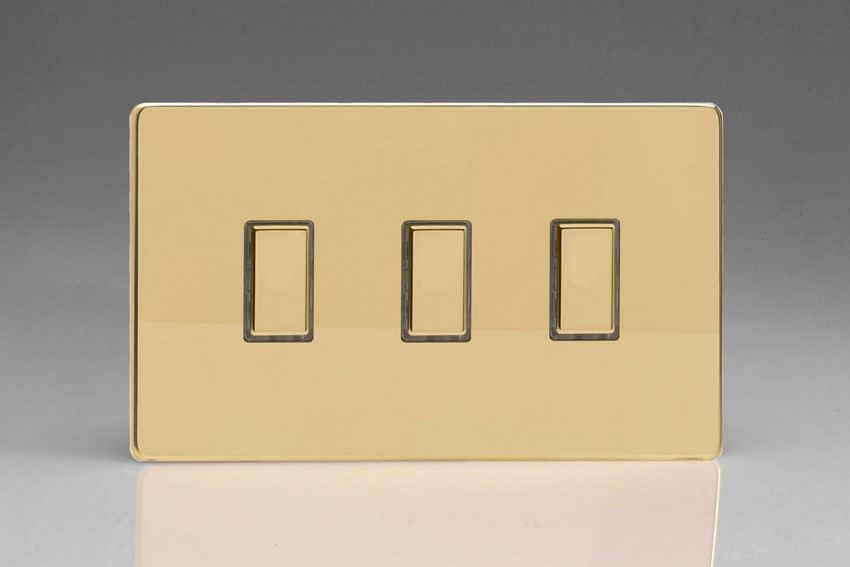 JDVES003S - Varilight V-Pro Series Eclique2 (Multi Point Remote), 3 Gang Tactile Touch Button Slave Unit for 2 way or Multi-way Circuits Only, Dimension Screwless Polished Brass