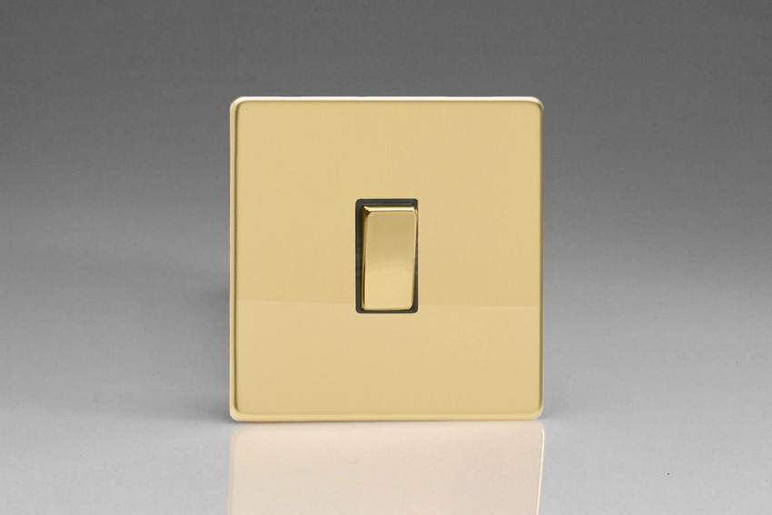 XDV20DS Varilight 1 Gang (Single), 1 Way 20 Amp Double Pole Switch, Dimension Screwless Polished Brass Effect