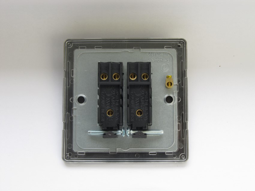 XDV2S Varilight 2 Gang (Double), 1 or 2 Way 10 Amp Switch, Dimension Screwless Polished Brass Effect