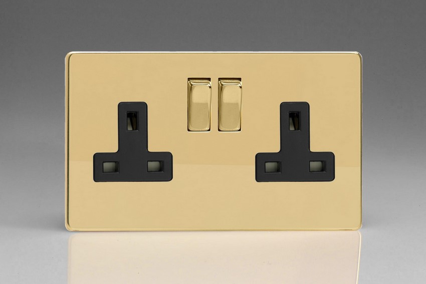 XDV5BS Varilight 2 Gang (Double), 13 Amp Switched Socket, Dimension Screwless Polished Brass Effect